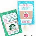 two printable back to school cards for coffee gift cards