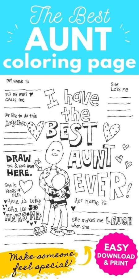 best aunt coloring page PIN