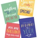 collage of printable compliment postcards