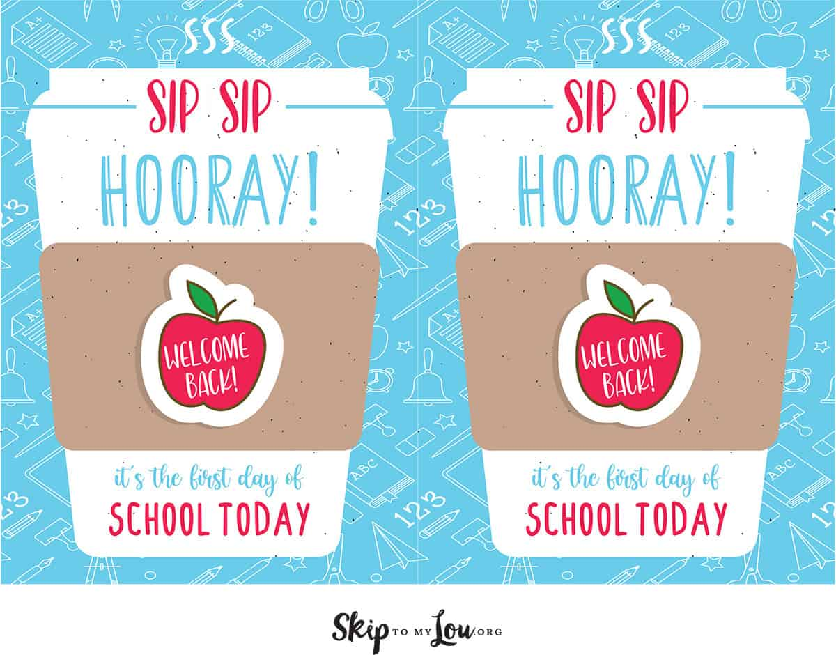 two on page sip sip hooray printable card