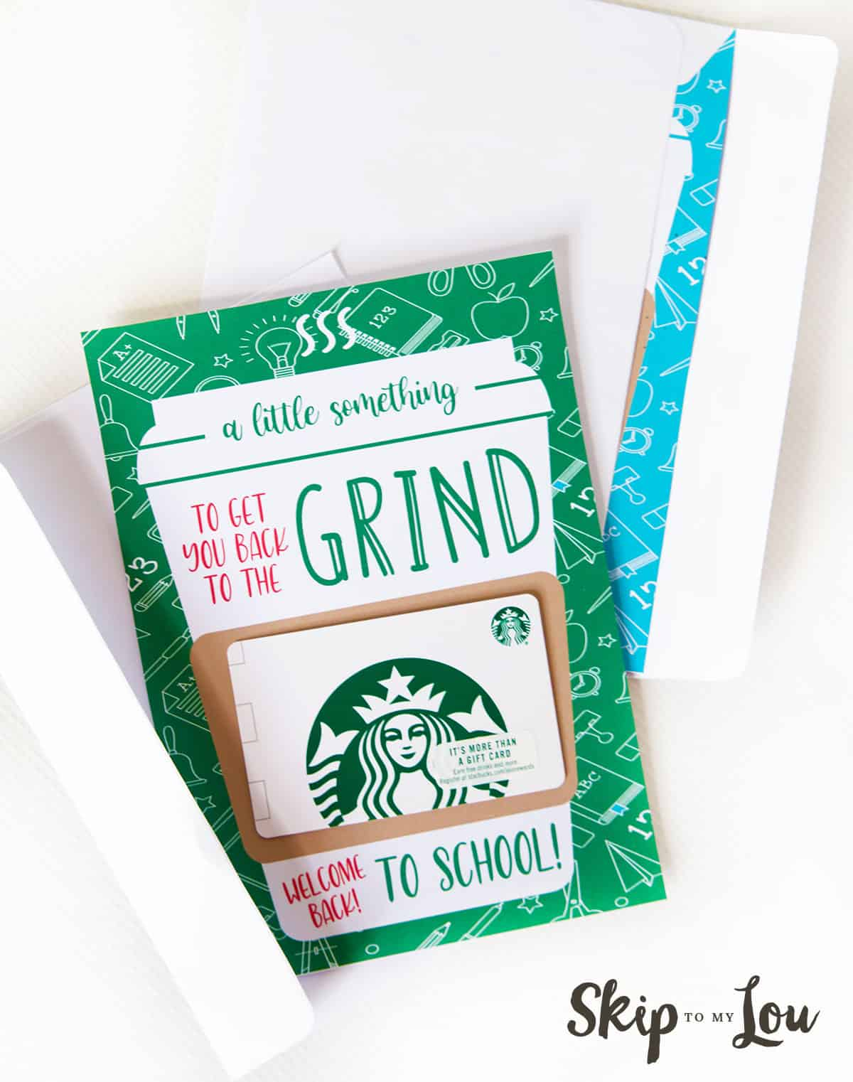 back to the grind printable card sticking out of envelope