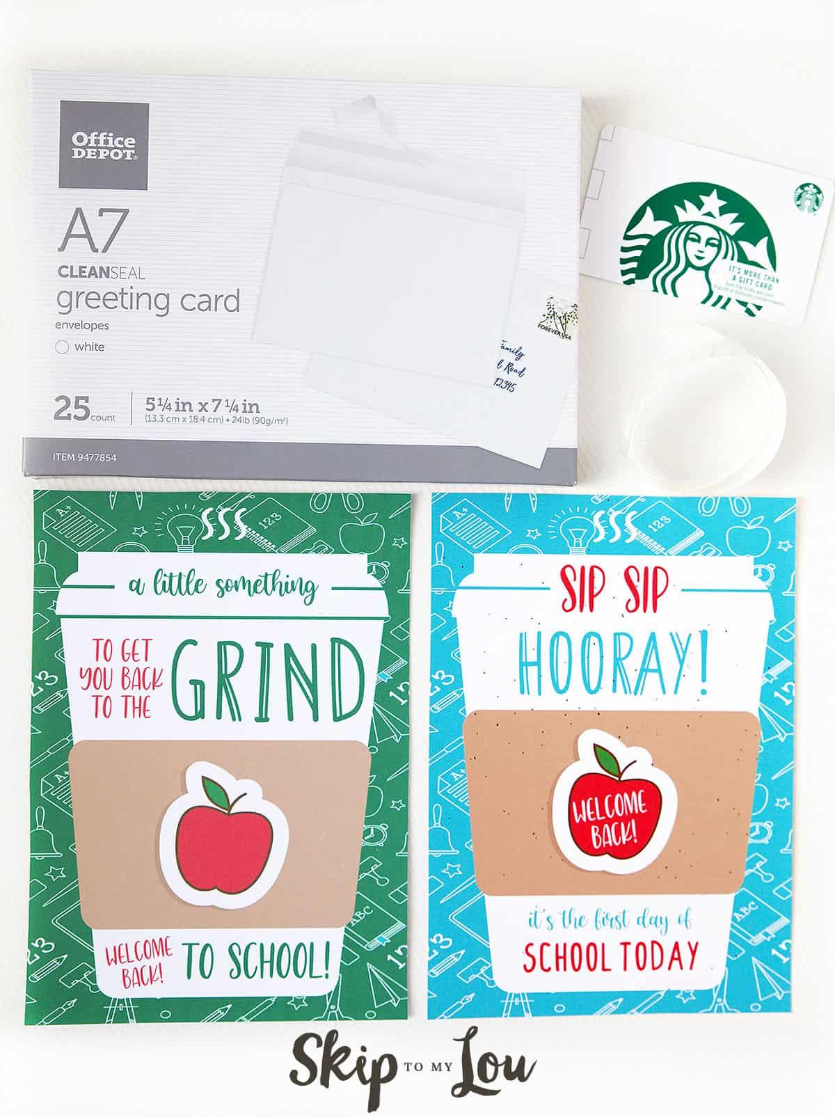envelopes glue dots coffee gift card back to the grind printable card sip sip hooray printable card