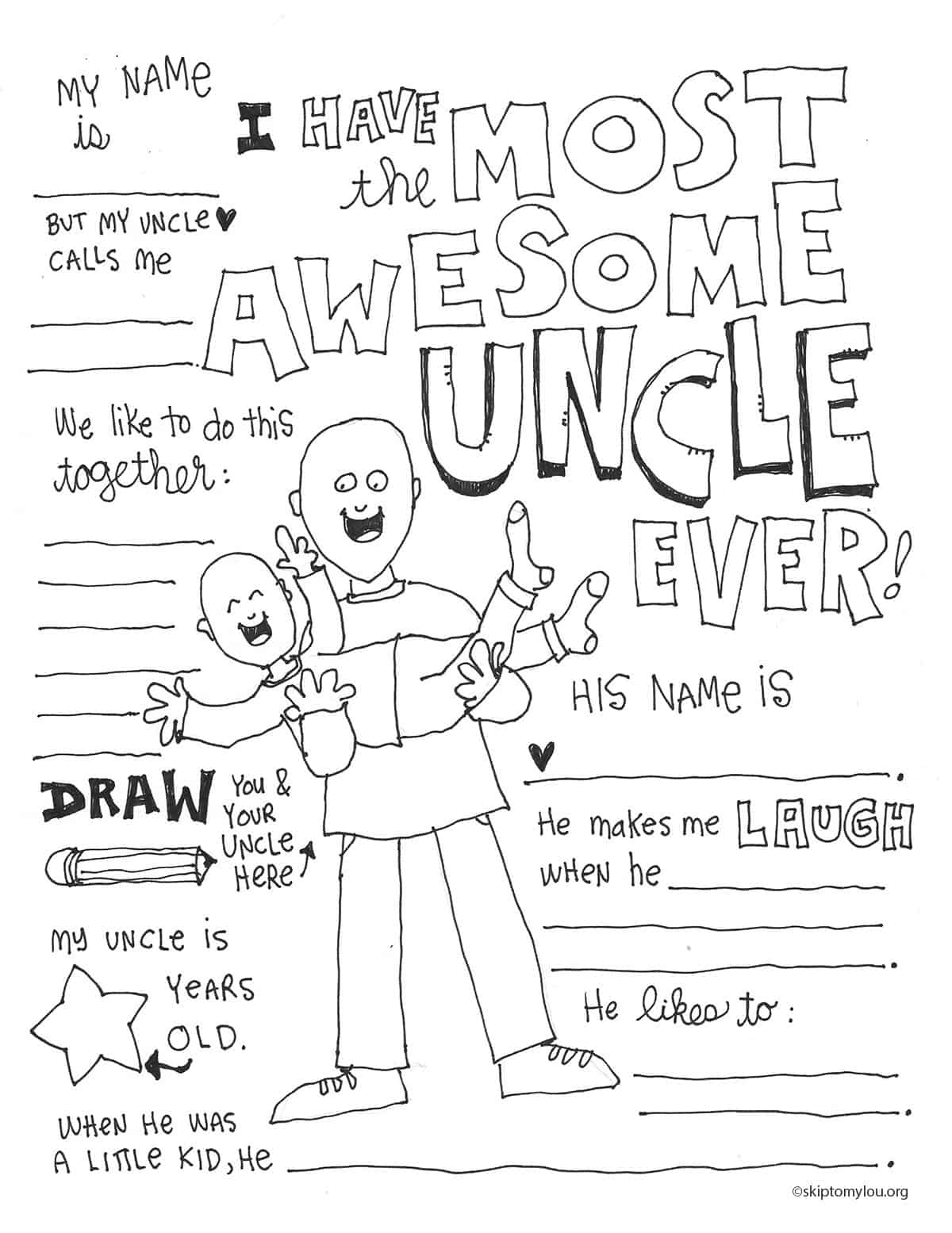 Awesome Uncle Coloring Page | Skip To My Lou