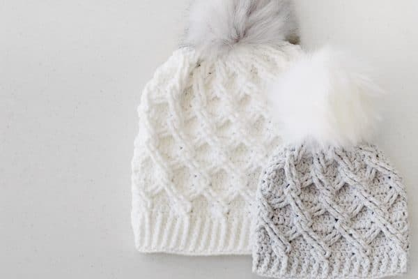 white and crochet cable hats