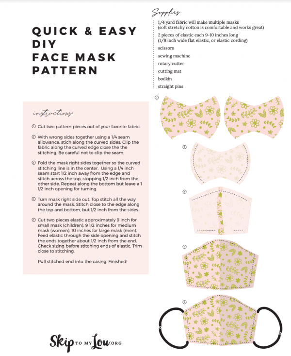 illustrated face mask pattern