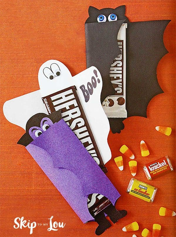 candy bars wrapped with printbles to look like bat ghost dracula
