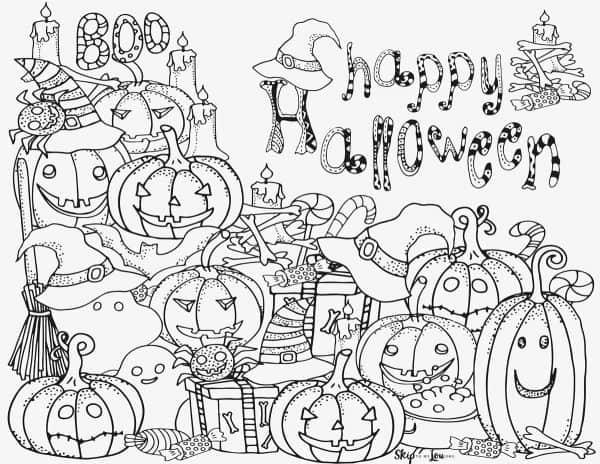 pumpkins with happy halloween greeting