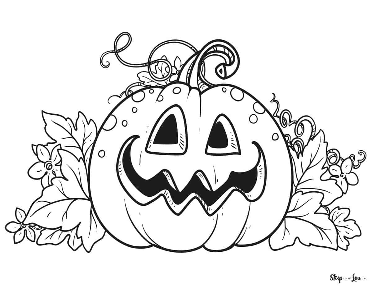friendly jack o lantern with leaves around