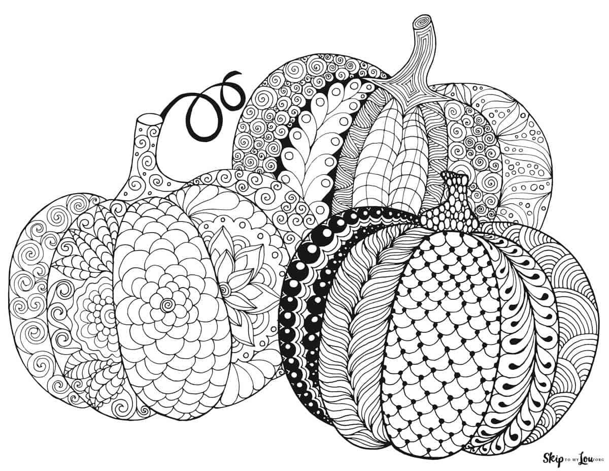 three zen doodle pumpkins