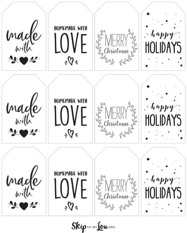 black made with love tags printable
