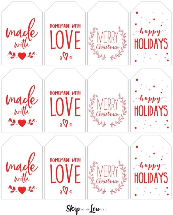 red handmade with love holiday tags printable