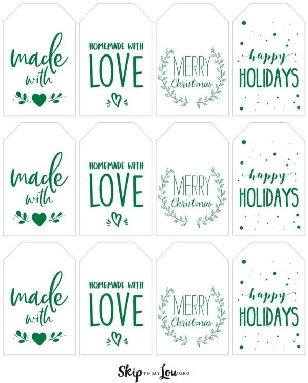 green made with love holiday tags printable