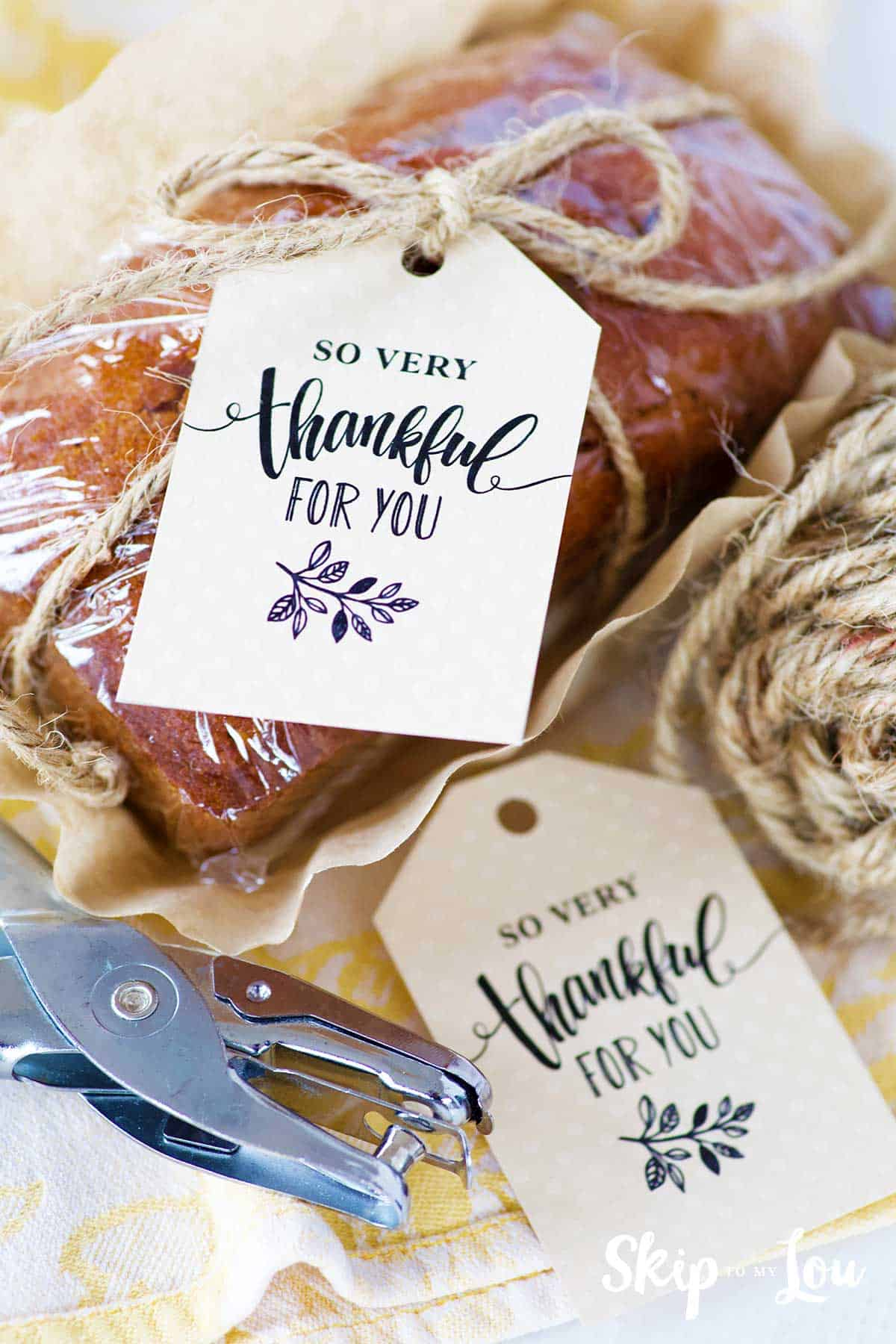 wrapped bread with tag hole punch twine