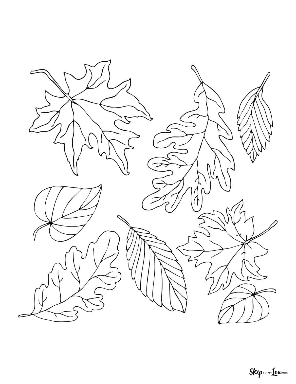 leaves coloring page
