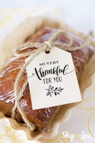 small quick bread so very thankful tag attached with twine