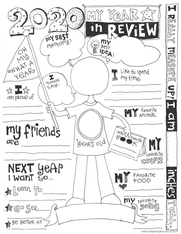 2020 year in review coloring page
