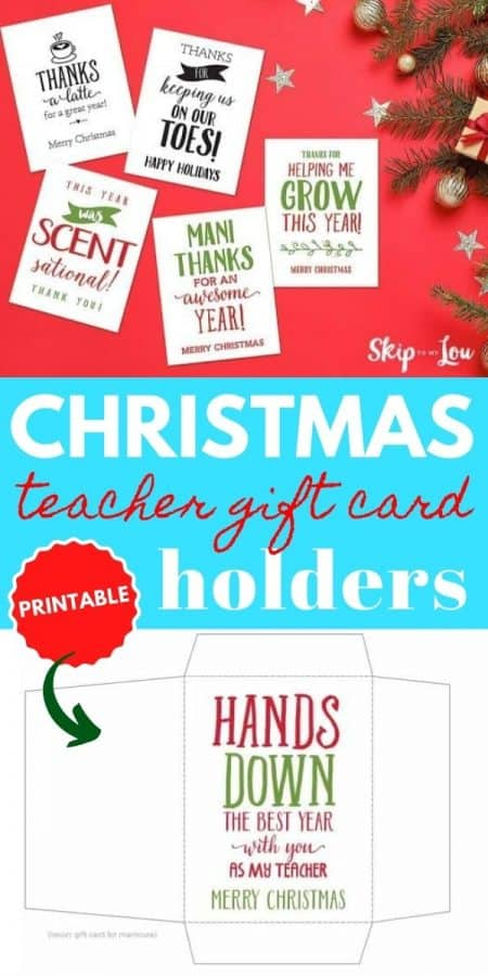 christmas teacher gift card holders PIN