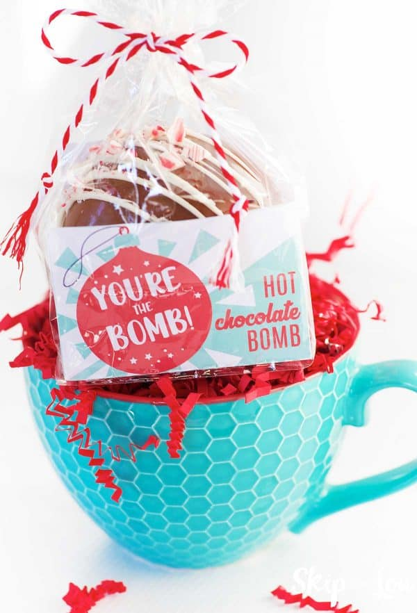 teal mug with homemade coco bomb packaged with printable label in cello bag and tied with red and white twine