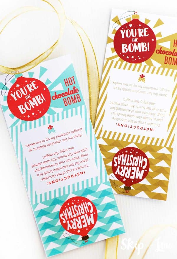 free cocoa bomb packaging printable in tea and one in gold