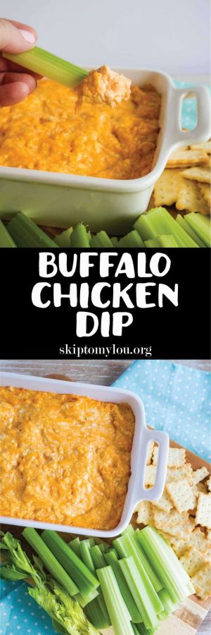 buffalo chicken dip being served with chicken in a biscuit crackers and celery