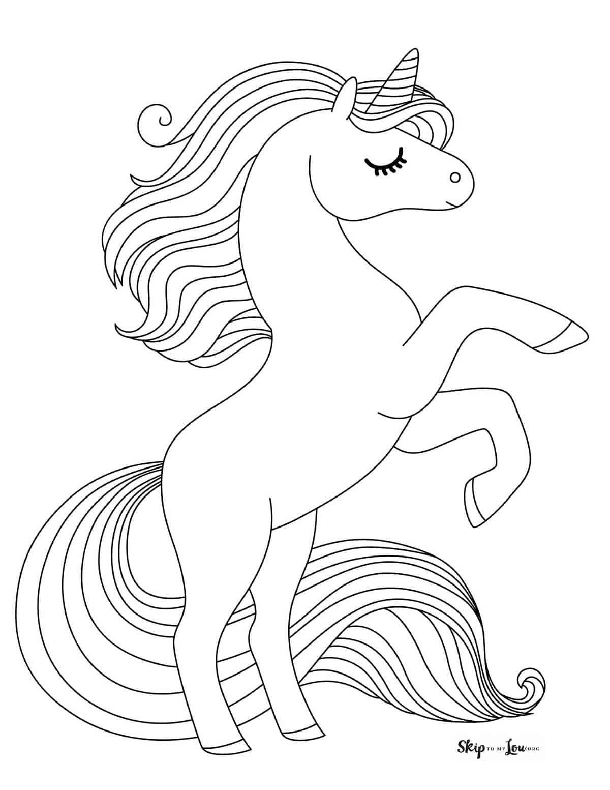 standing unicorn coloring sheet printable