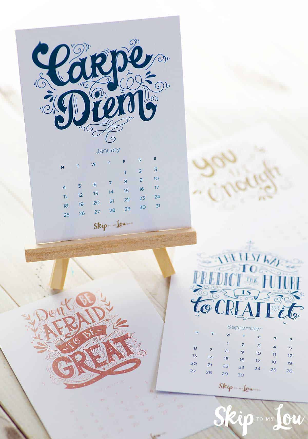 free 2021 calendar on tiny wooden easel