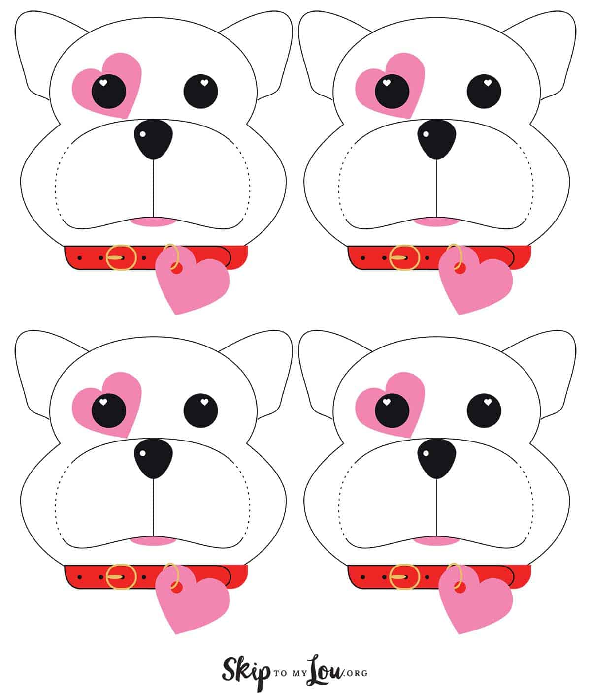 free printable dog valentines four to a page