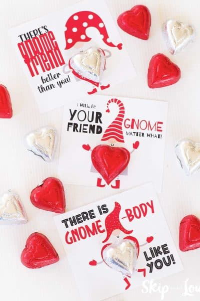 printable gnome valentines with candy hearts