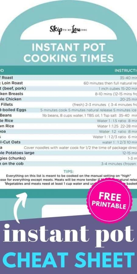 instant pot cheat sheet PIN