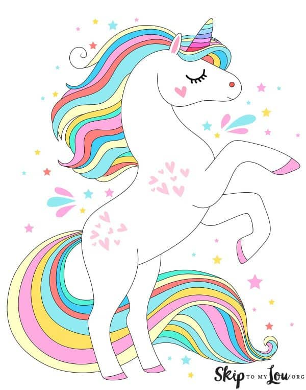 colored unicorn with rainbow tail