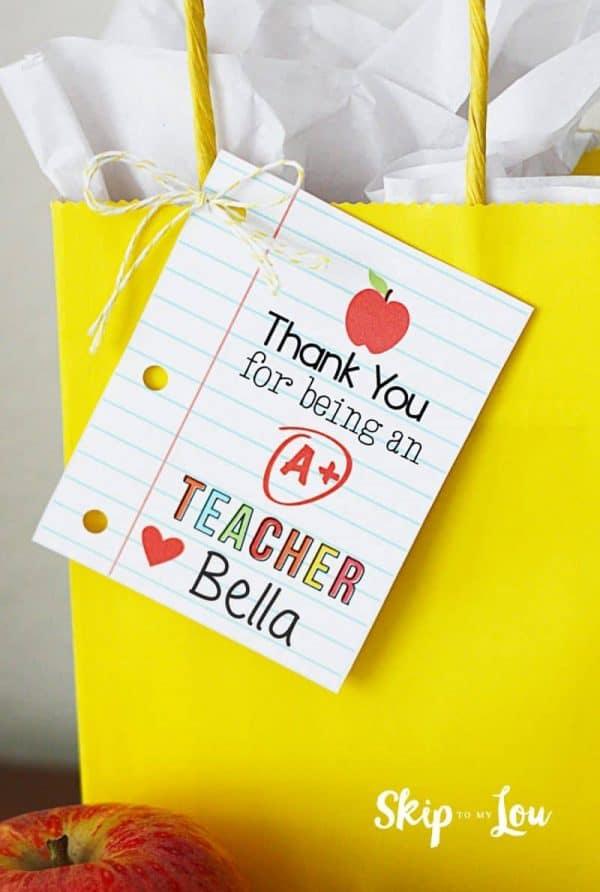 thank you teacher printable gift tag on yellow bag