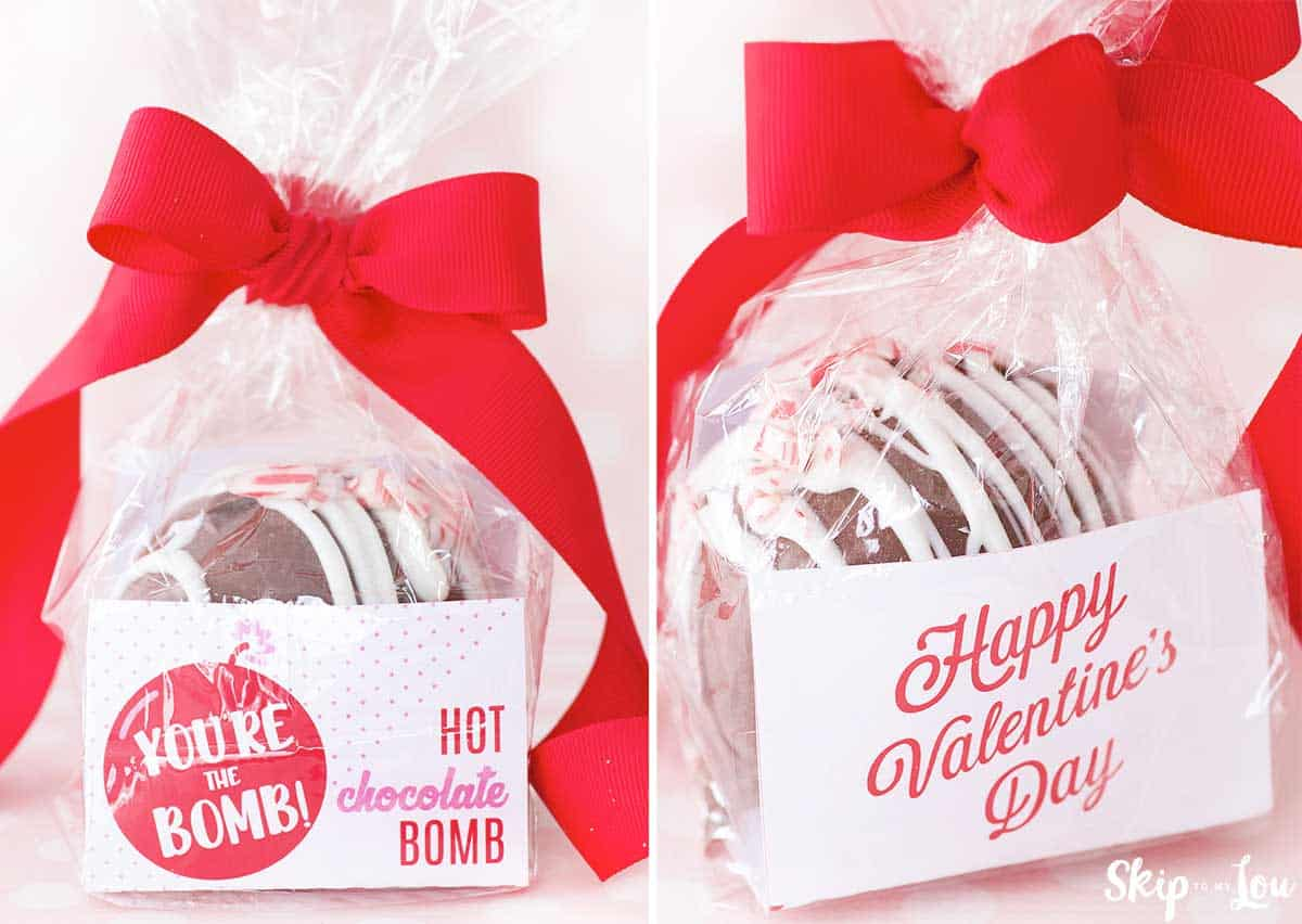 front and back of valentine cocoa bomb packaging