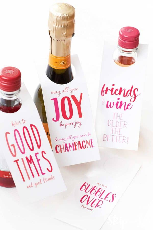 three small bottles of wine with printable bottle tags for friends