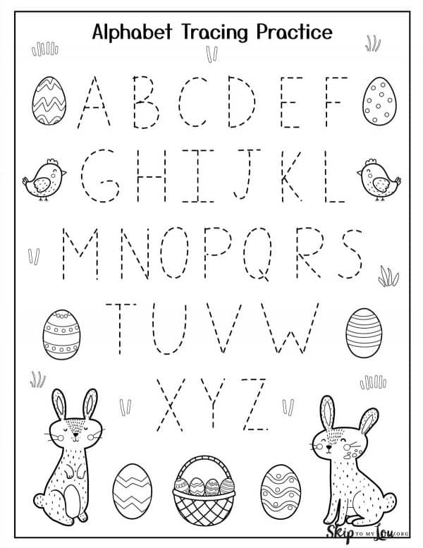 alphabet tracing letters with easter icons around the edge