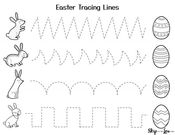 lines for tracing easter themed