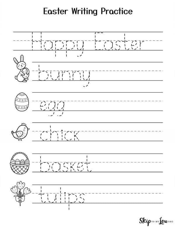 easter words writing practice
