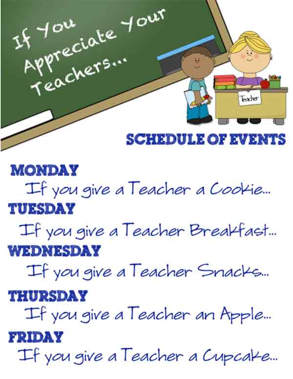 if you give a mouse a cooke theme week of ideas for teacher appreciation