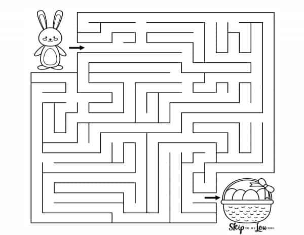 easter maze with bunny and basket