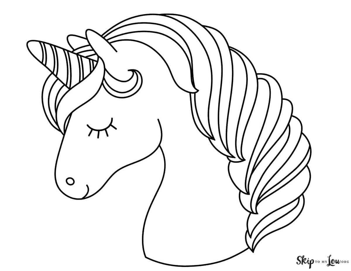 printable unicorn head coloring page