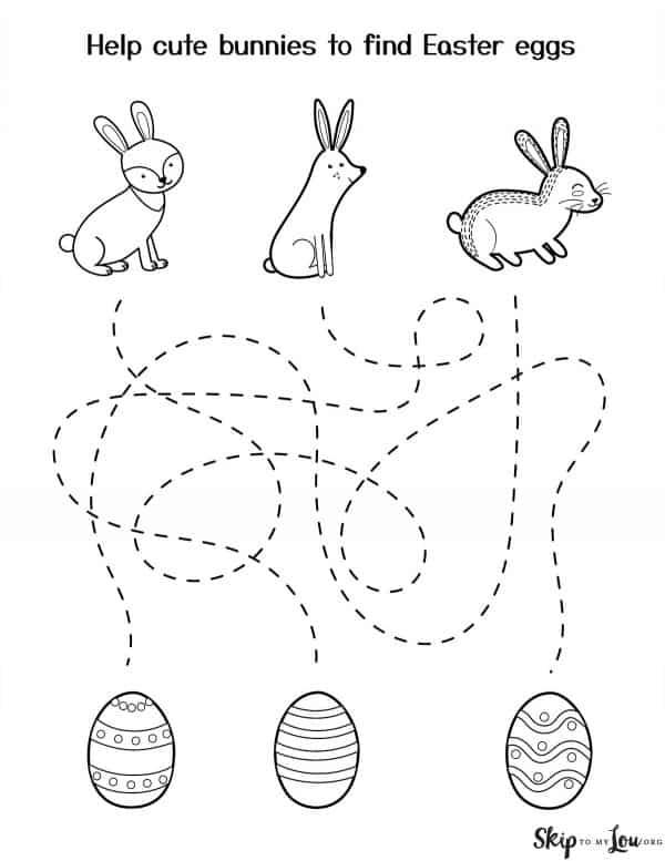 bunnies find eggs tracing sheet