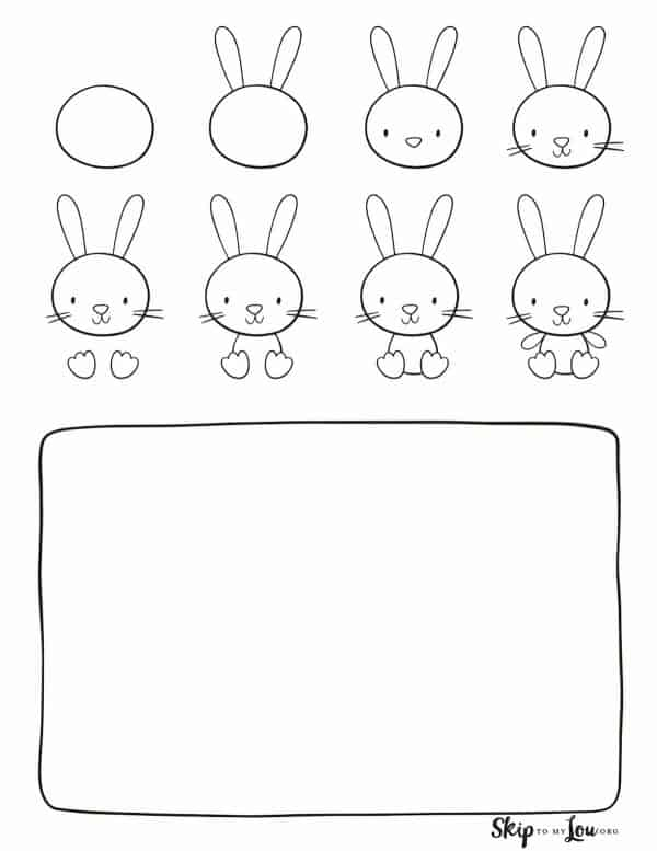 step by step how to draw a cute bunny