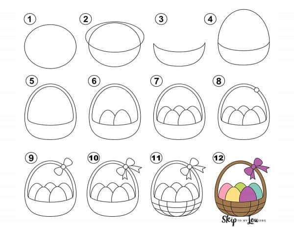 how to draw a basket