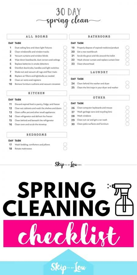 spring cleaning checklist PIN