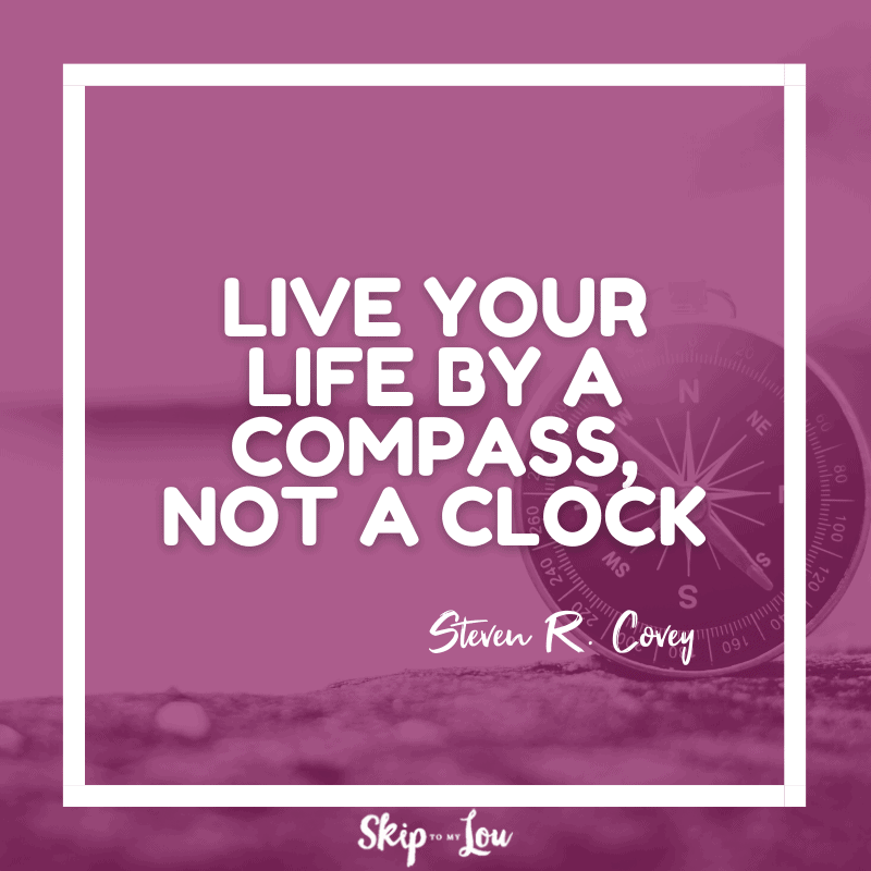 Live your life by a compass, not a clock. ― Steven R. Covey
