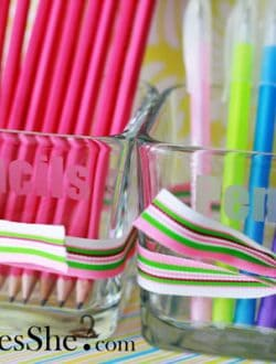 etched glass holders for pencils