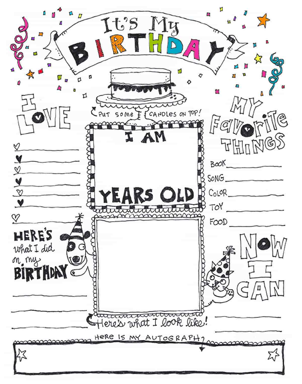 blank all about me coloring page