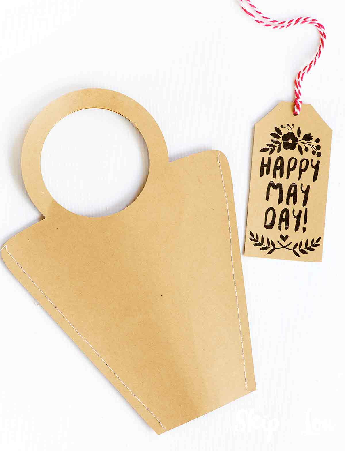 may basket template with happy may day gift tag