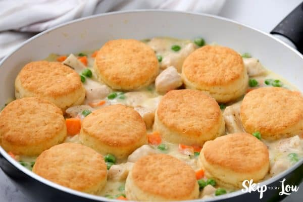 chicken pot pie with biscuits ready to serve