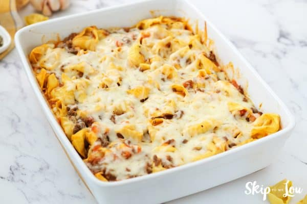 tortellini casserole has been baked until the cheese melted