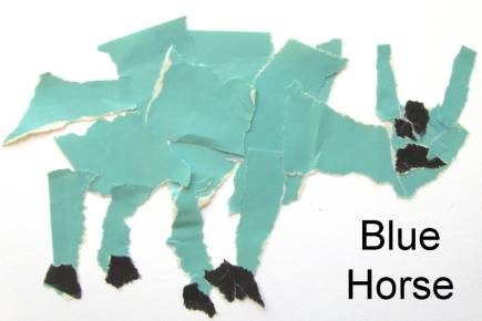 blue horse collage for preschoolers